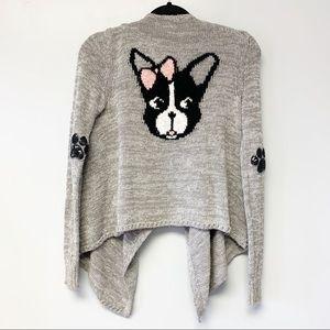 Justice Girls knit sweater French bulldog cardigan